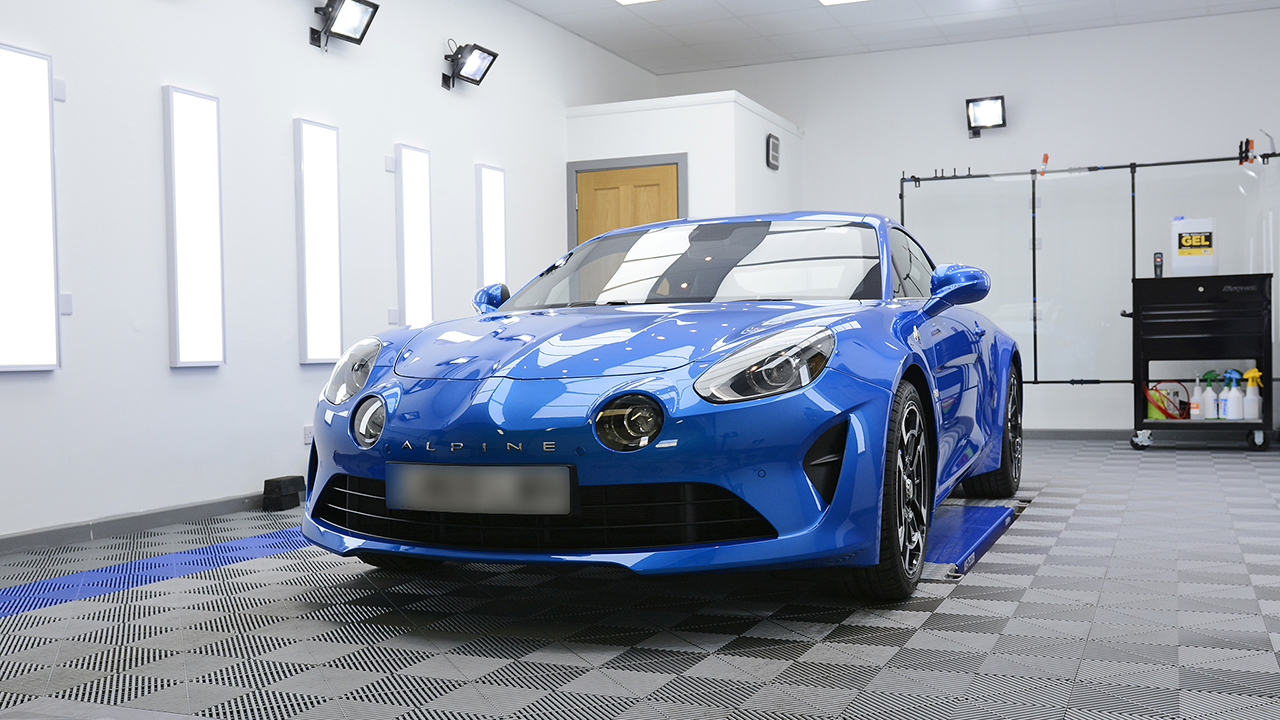 Alpine A110 protected with paint protection film (PPF)